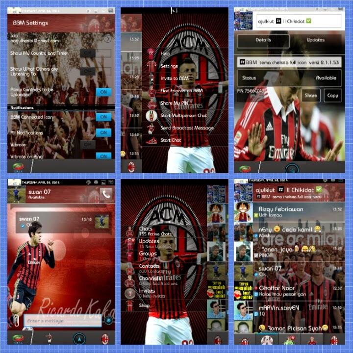 Download BBM Modif Klub AC Milan APK Android